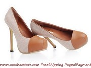 Hot sale Yves Saint Laurent Trib Too High Heel Pump in Apricot linen a
